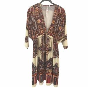 Cristinalove Sz 2X Paisley V-Neck Blouson Dress